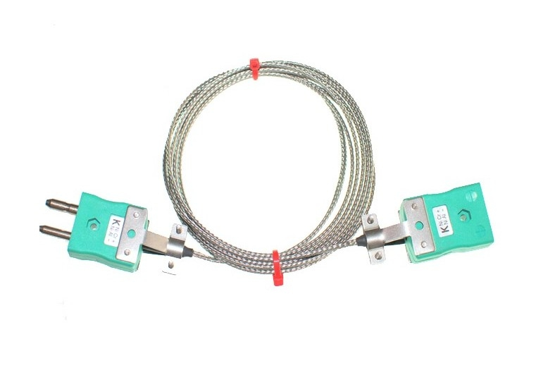 Glassfibre Insulated Cable / Wire with STANDARD Thermocouple Plugs & Sockets IEC