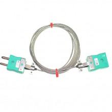 Typ K Thermoelement Glasfaser Verlängerungskabel mit Standard-Stecker & Buchsen (IEC)